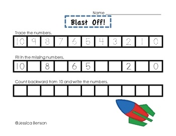 blast off counting backward from 10 math center activity 1st grade math pinterest. Black Bedroom Furniture Sets. Home Design Ideas