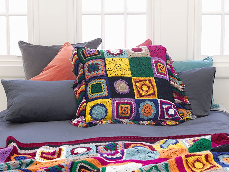 Crochet cushion topper by Panda Australia