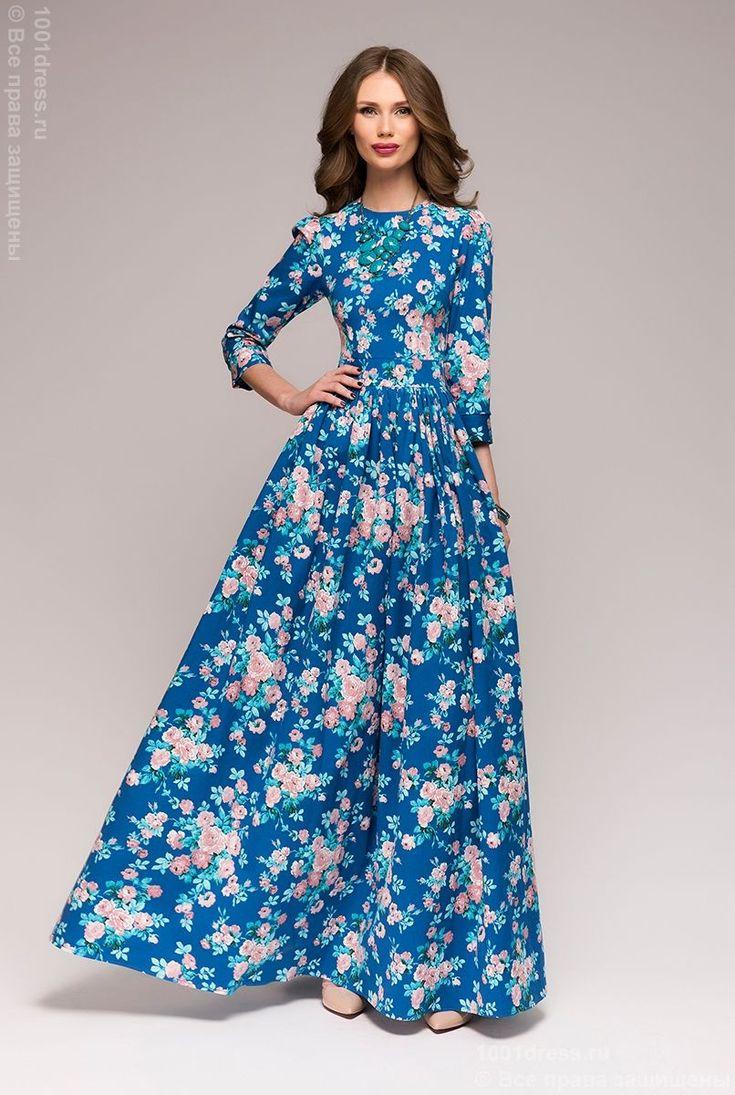 Платье синее длины макси с крупным цветочным принтом в интернет-магазине 1001DRESS
