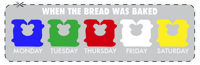 Apparently the colored tags are there to indicate which day of the week the bread is baked.