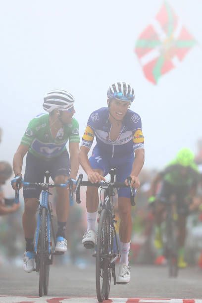 63a72027e Arrival   Alejandro Valverde of Spain and Movistar Team Green Points Jersey    Enric Mas of
