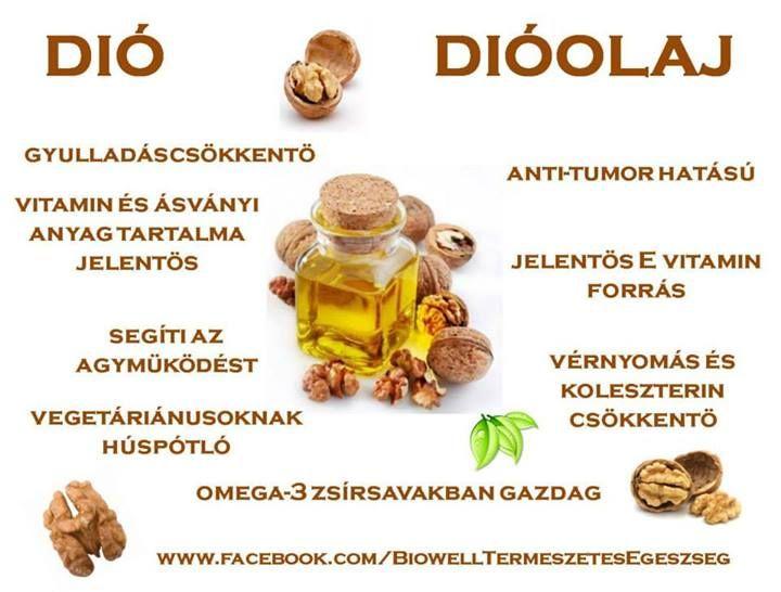 Jelentősen segíti az agyműködést Nagy mennyiségben tartalmaz fehérje, lipid, szénhidrát  Vitaminok: E B1 B2 B6 biotin folsav  Ásv. anyag: nátrium, kálium, kalcium, foszfor, magnézium, vas, réz, cink, mangán A dió húspótló étel is lehet. Kenyérfélével kiegészítve tartalmazza az összes esszenciális aminosavat. A koncentrációs zavarokban szenvedő gyermekeknél eredménnyel alkalmazható. Kúraszerű fogyasztása segít az erek rugalmasságának megtartásában…