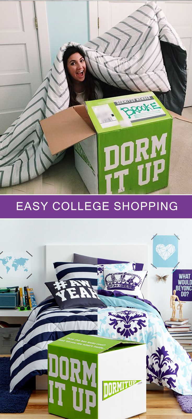 Get everything for your dorm, all in one box! FREE SHIPPING to you door! Save up to 50% vs stores. www.dormitup.com   Photo by BrookeMiccio
