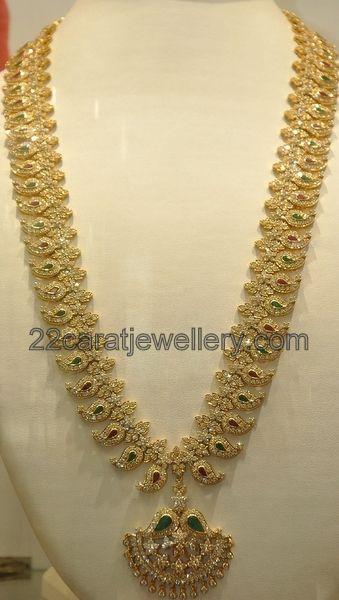 Jewellery Designs: Diamond Mango Mala