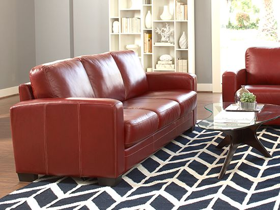 Plummers   Leather Sofas   Pavia Leather Sofa Red