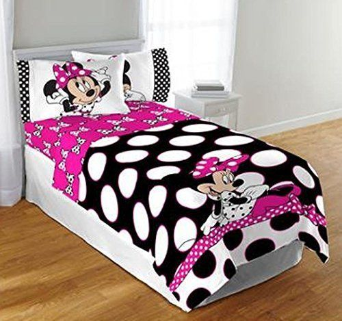 Kids' Comforters - Disney Minnie Mouse Twin or Full Black  Pink Polka dot Comforter Bedspread >>> You can find out more details at the link of the image.