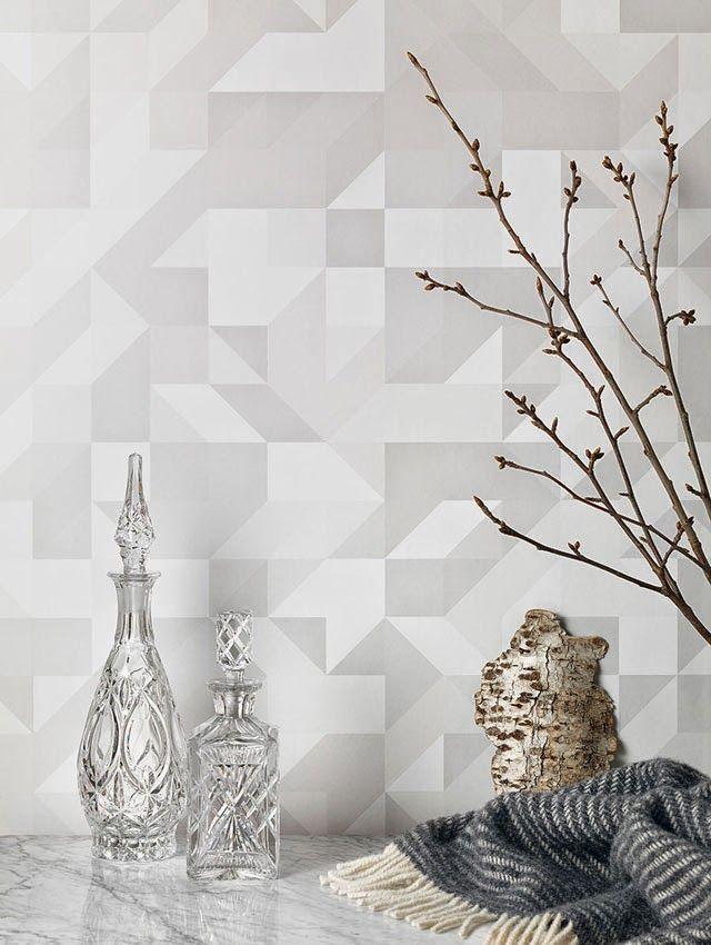 Grafisch behang in verschillende grijstinten van Form Us With Love.