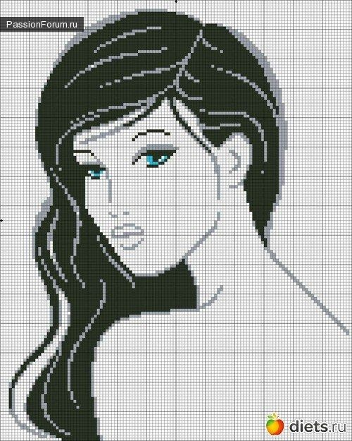 0 point de croix fille - cross stitch girl's face