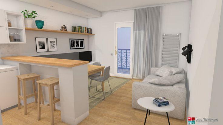 Progettazione di un soggiorno moderno con cucina a vista for Idee per dividere cucina e soggiorno