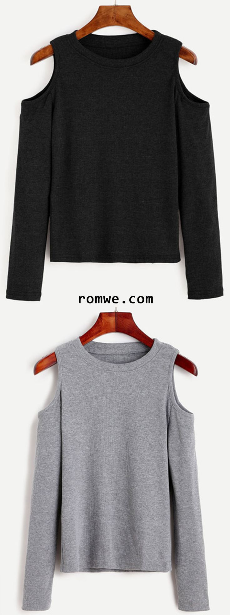 Grey & Black Open Shoulder Knit T-shirt from romwe.com