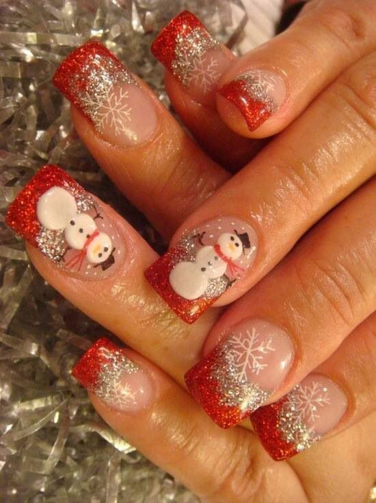 Nail art-red tip snowman