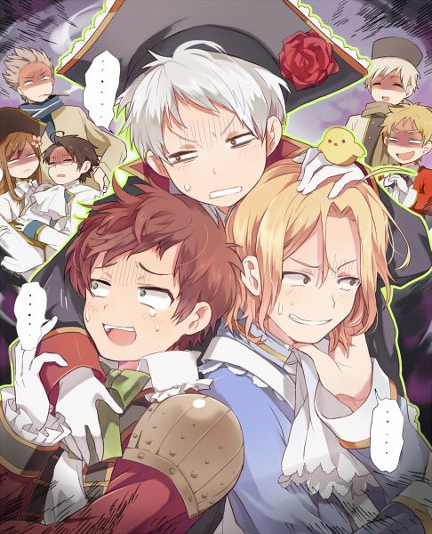 Hetalia BTT Bad Touch Trio Prussia, Spain, & France vs. the world (literally) Lol their faces!
