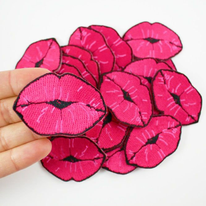 Kiss - Lips Embroidered Patch / Iron-On Applique - Hot Pink by WildflowerandCompany on Etsy https://www.etsy.com/listing/213589092/kiss-lips-embroidered-patch-iron-on