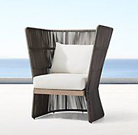 RH's Havana Fan Chair:Designed by Louis Ho, the Havana collection mixes contrasting materials for a modern, minimalist take on outdoor furniture. A gracefully curving back distinguishes our chair, crafted with vertical all-weather wicker cording that creates a dramatic interplay of light and shadow. The airy frame is grounded by a base of enduring teak.SHOP THE ENTIRE COLLECTION ▸