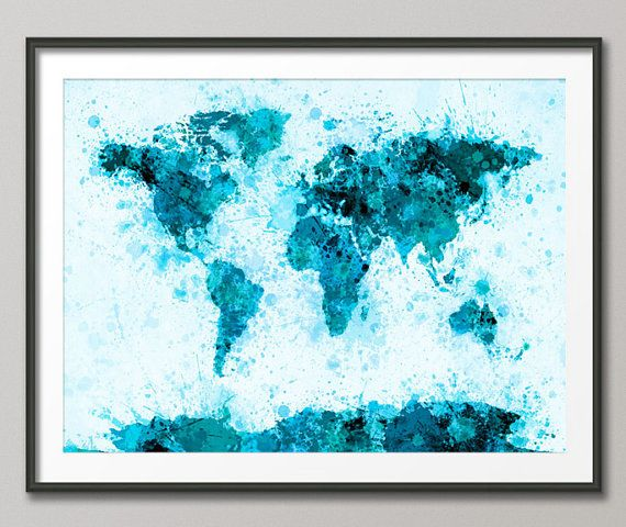 204 best world map art images on pinterest tattoo ideas world paint splashes map of the world map art print 797 gumiabroncs Choice Image