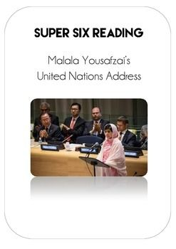 This resource has been created to provide a guided reading experience for Malala Yousafzai's UN address. The resource utilises the Super Six strategies for Reading Comprehension and explicit teaching of literacy.