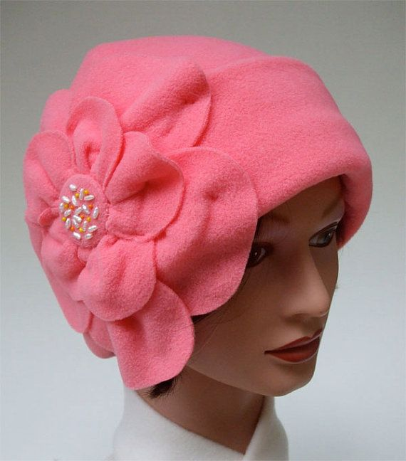 Purely Bright Coral Micro Fleece Hat with Oversized Blossom, Med.