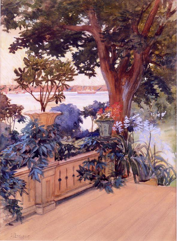 Albert Edelfelt, Näköala Haikkoon kuistilta, 1896, akvarellimaalaus.
