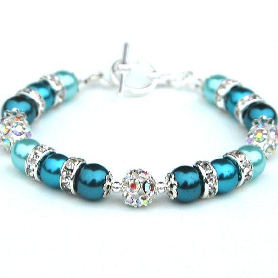 Teal Turquoise and Aqua Pearl Rhinestone Bracelet, Pearl Bridesmaid Jewelry, Wedding Party, Summer Wedding Jewelry