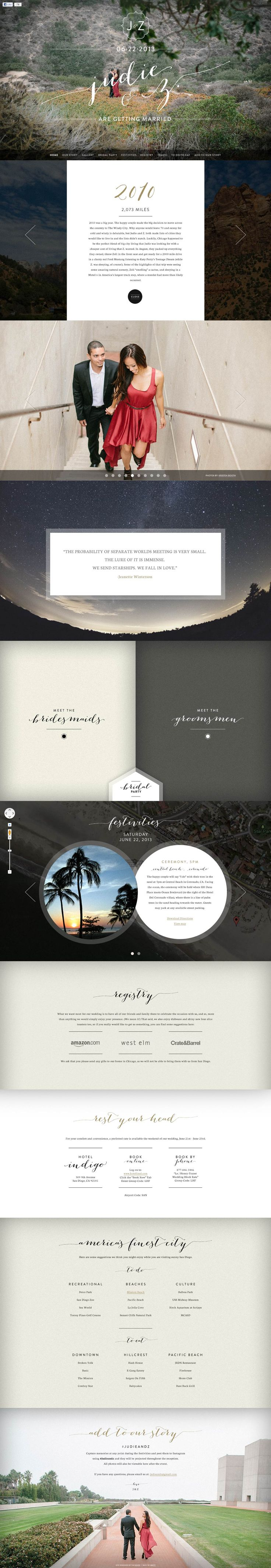 "Some great elements in this wedding one pager for ""Judie & Z"". Quite like this mix of font overlayed on the quality images - especially like that choice of the last image. Only crit is the cut off site on bigger monitors, so best viewed on your 1280px screens."