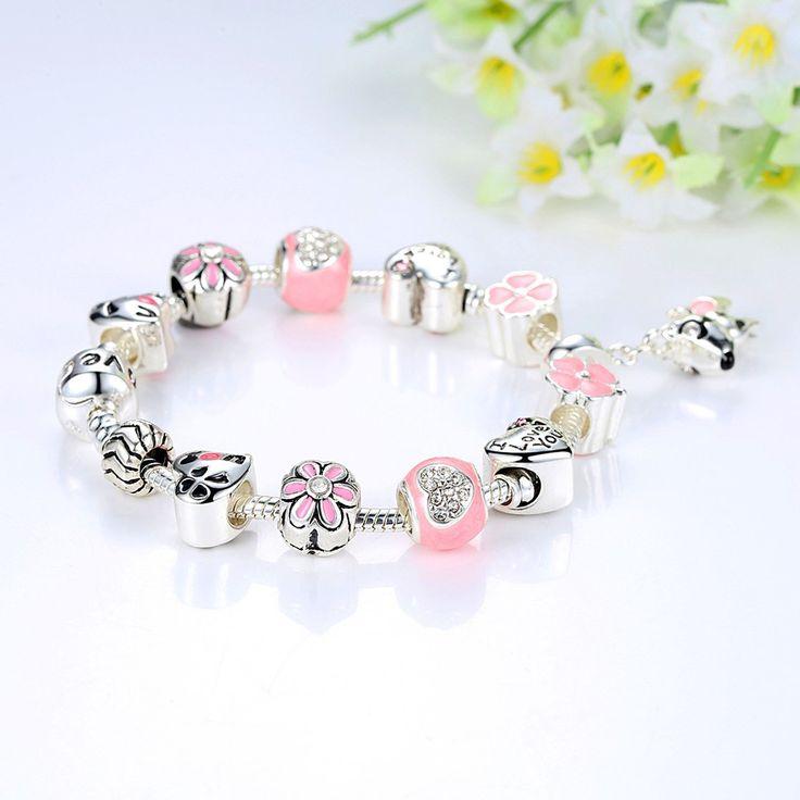 Puppy Dog Charm Bracelet Love Heart Charm Bracelet Pink Lucky Clover Charm Bracelet for Teens Girl