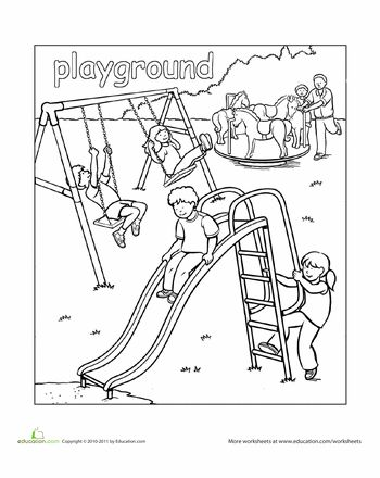 Coloring pages recess ~ Playground Coloring Page | kids camp | Pinterest