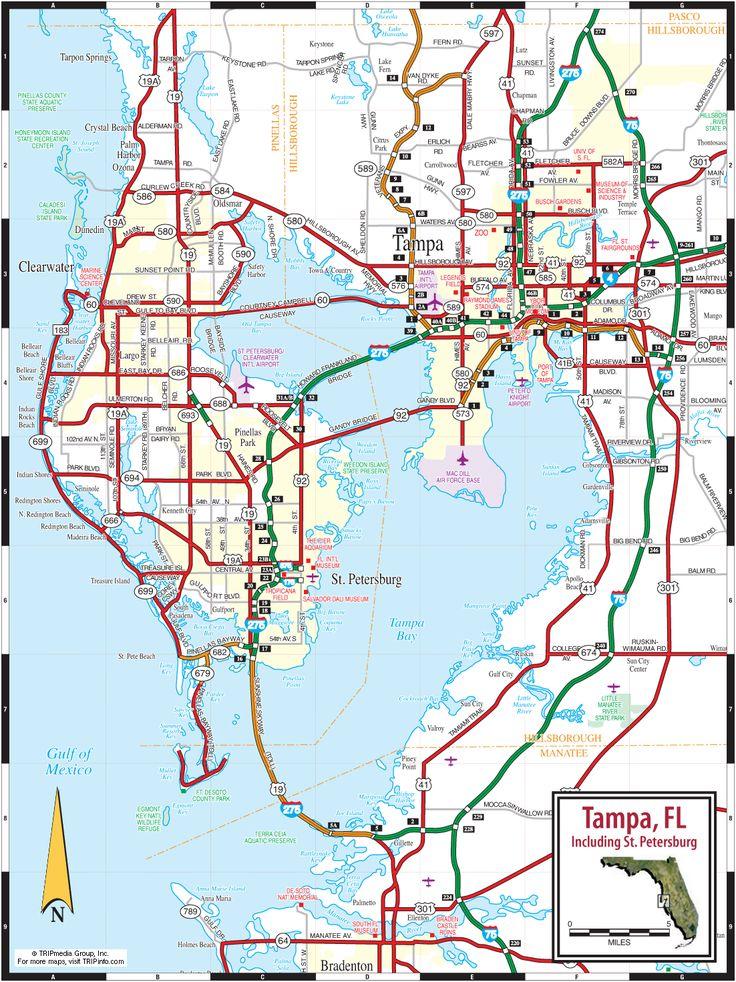 Tampa, St. Petersburg & Clearwater, Florida Road Map