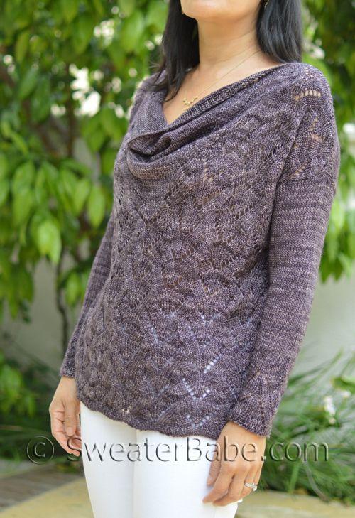Elegant Draped-Neck Sweater knitting pattern from SweaterBabe.