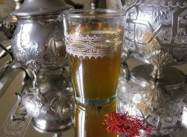 Saffron tea is popular in and around the Moroccan town of Taliouine, where saffron is harvested locally.