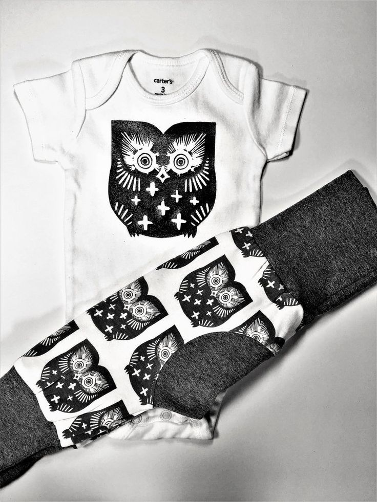 Baby Gift Set with Owl Grow Along Pants and Matching Bodysuit