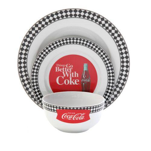 Coca Cola 60's Diner 12-Piece Dinnerware Set - Walmart.com (Would look pretty dark cute in my kitchen!)