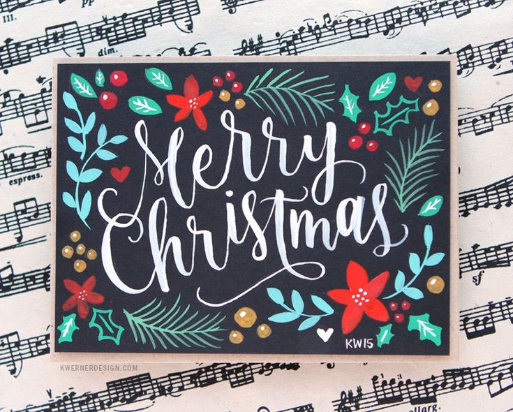 Brush Lettering & Hand Painted Christmas Card + Printables by Kristina Werner.