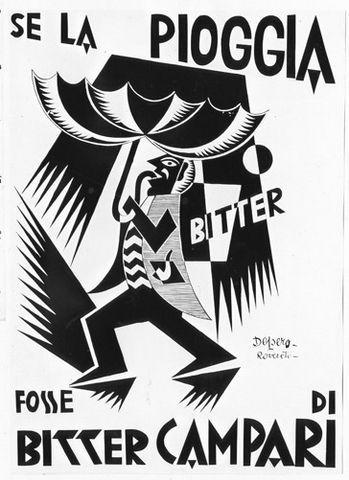 Vintage poster black and white fortunato depero se la pioggia fosse bitter