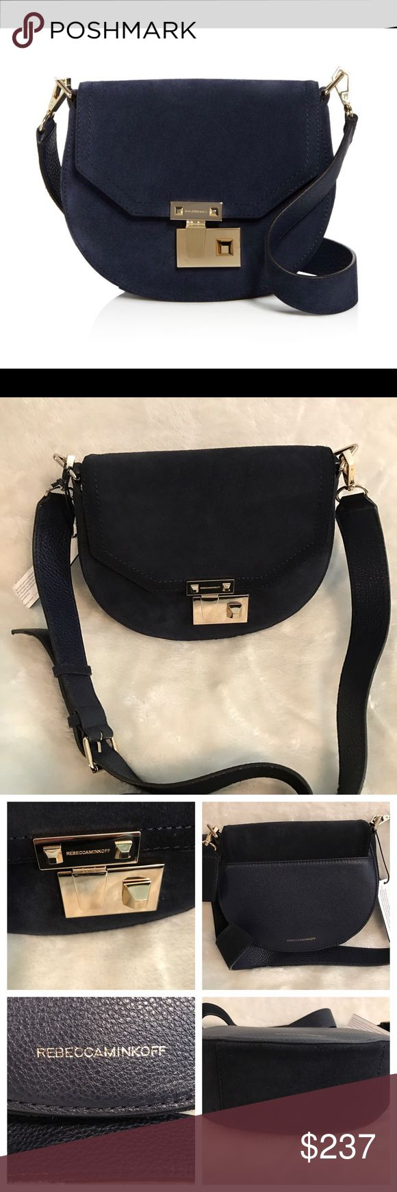 "Rebecca Minkoff medium Paris rocks cross body Brand new with tags Rebecca Minkoff medium paris suede saddle bag in the color moon (navy).  Suede Detachable crossbody strap lined, snap closure Interior and exterior slip pocket  22"" strap drop Includes dust bag and care card. Rebecca Minkoff Bags Crossbody Bags"