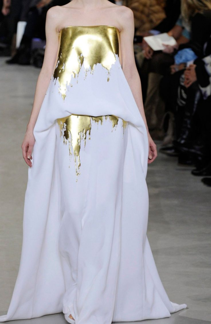 stephane rolland spring summer 2012 white maxi dress with golden details