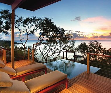 World's Best Hotel Service: Lizard Island Resort, Australia  The general manager greets all guests with champagne before taking them to their rooms.  Hammocks and plunge pools