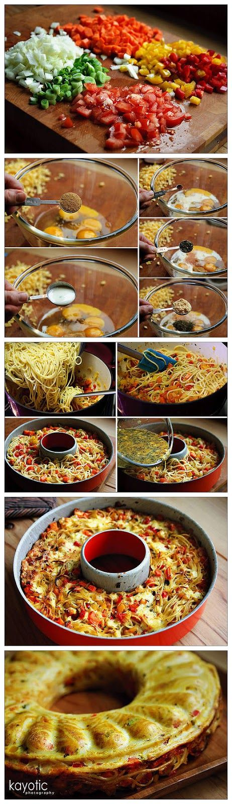 Ingredients:    10 oz spaghetti  7 oz cheese  2 bell peppers  1 large onion  1 large carrot  2 spring onions  2 tomatoes  4 eggs  1 tsp l...