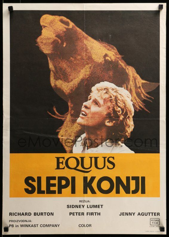 1 of 1 : 9b378 EQUUS Yugoslavian 20x28 '77 Richard Burton, Jenny Agutter, Peter Firth, Sidney Lumet!