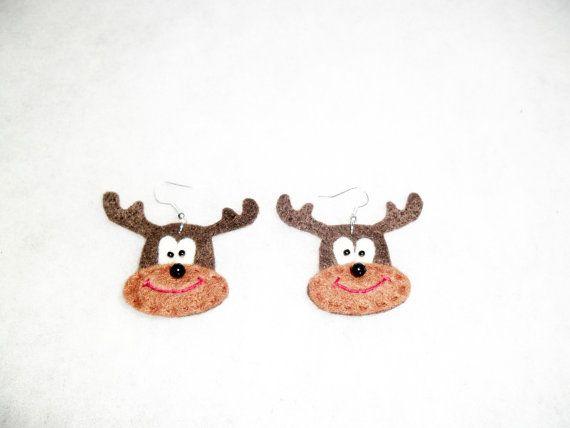Felt earrings deers. Wool deers. Brown deers by EmisaFelt