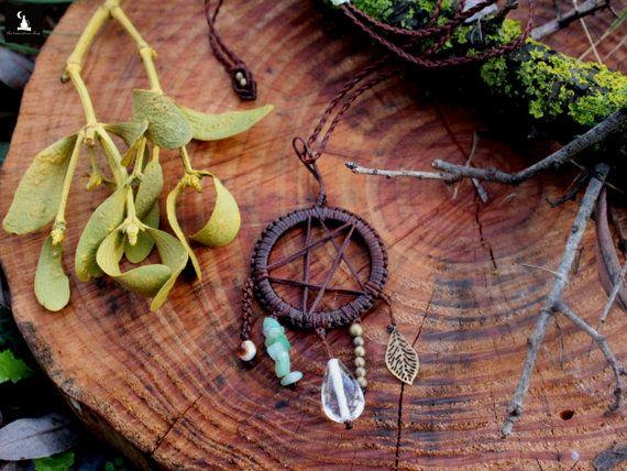 Collar de atrapasueños de pentáculo collar de wicca