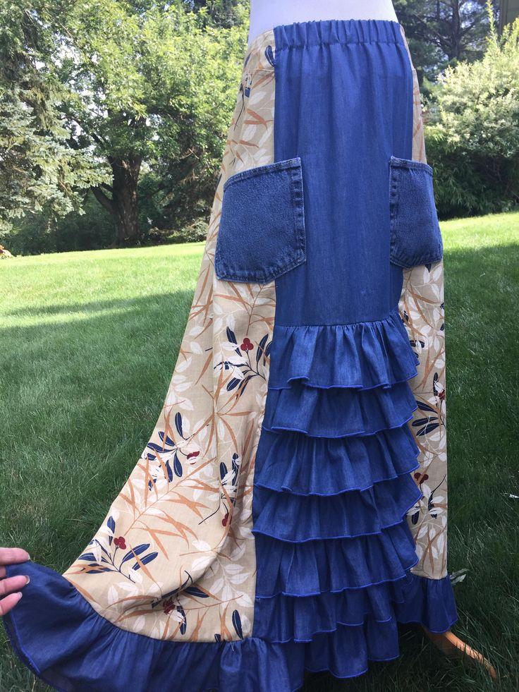 Linen Denim Skirt L - 1X Long Handmade Skirt Unique Ruffled with Pockets 10 12 14 16 18 Elastic Waistband Gypsy Hippy Skirt Breathe Clothing by DesignbyNatalia on Etsy