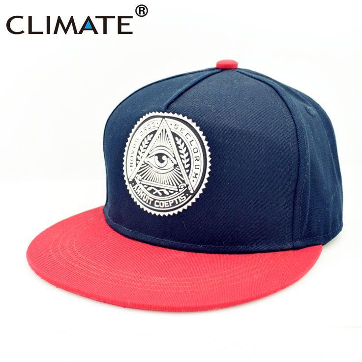 CLIMATE Illuminati Eye ANNUIT COEPTIS Snapback Caps Novus Ordo Seclorum Free-Mason U.S Dollar Flat Peak HipHop Hat Man Women