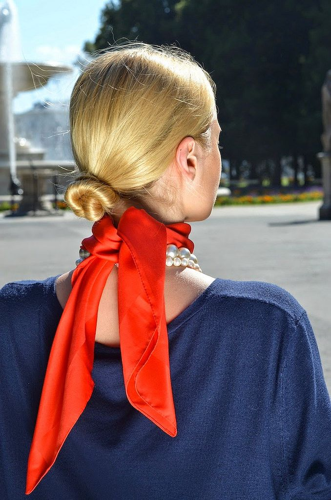 Red neck scarf, tied at back