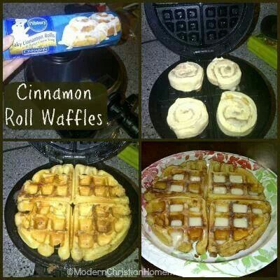 Cinnamon roll waffles!