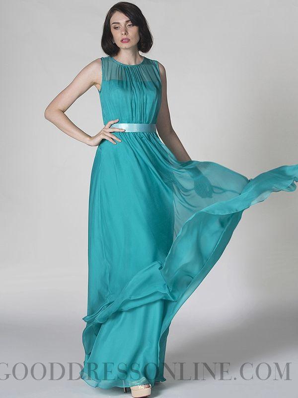 2013 Cheap A-line Floor-length Round Neck Ruffles Prom Dresses