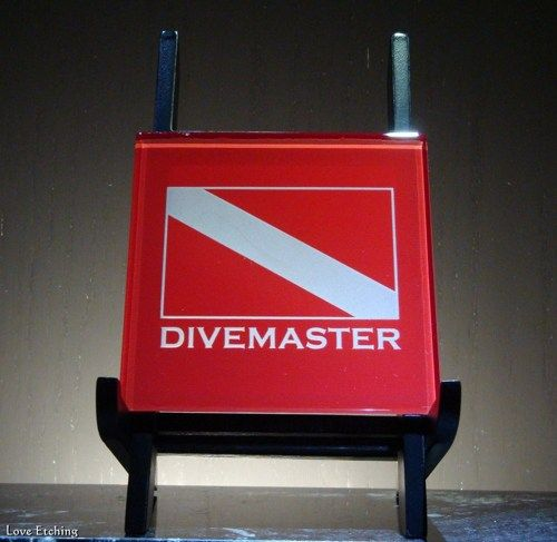 1 DIVEMASTER Scuba Dive Flag Etched Glass Red Wall Tile, Sign, Coaster