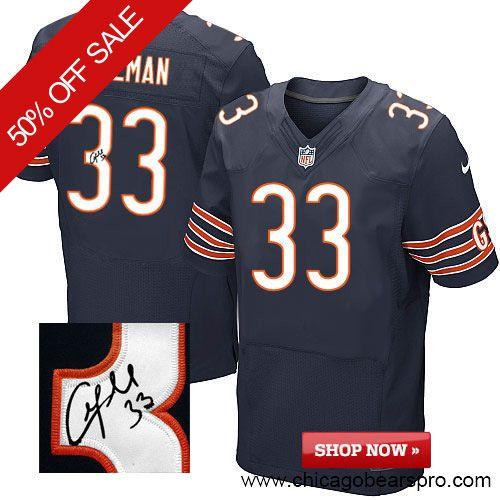 $129.99 Men's Nike Chicago Bears #33 Charles Tillman Elite Team Color Blue  NFL Alternate Autographed