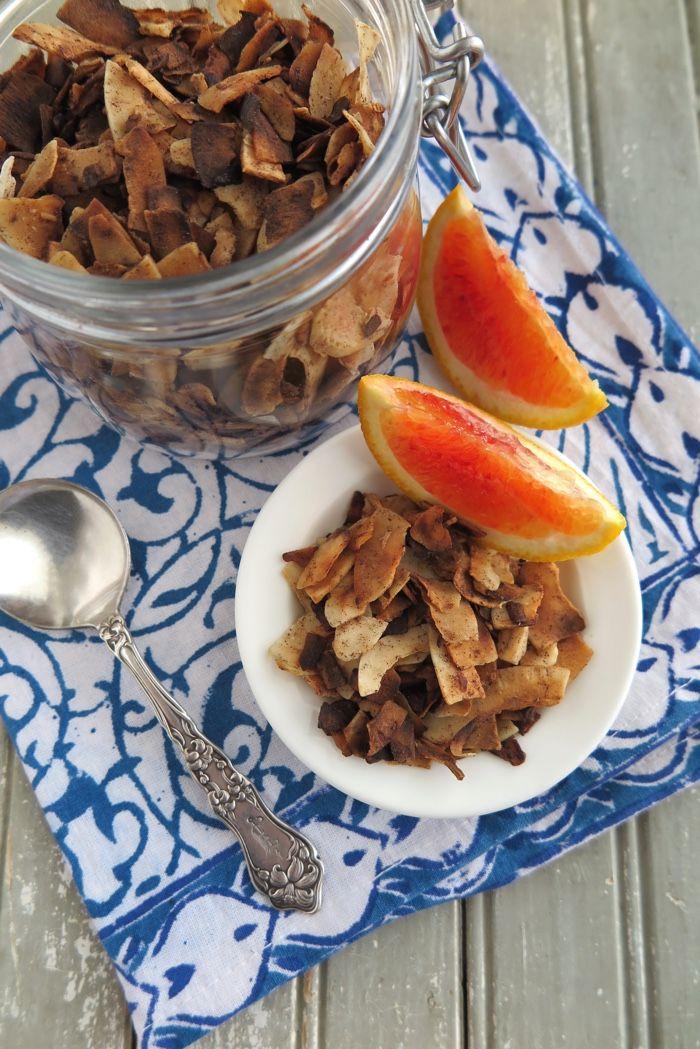 A Squirrel in the Kitchen   Vanilla-Cinnamon Toasted Coconut Flakes [ Paleo – AIP – Sugar-Free ]   http://asquirrelinthekitchen.com
