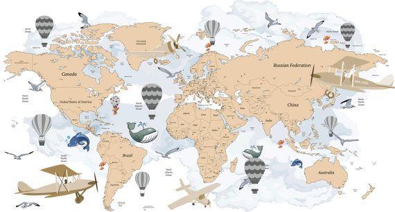 Avitation wereld kaart Decal vliegtuig kaart door Walls2LifeDecals