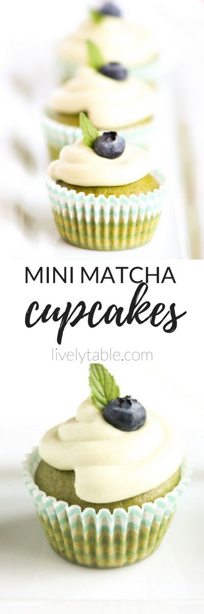 Mini Matcha Green Tea Cupcakes are loaded with antioxidant-rich matcha for a delicious and adorable springtime treat! via livelytable.com/